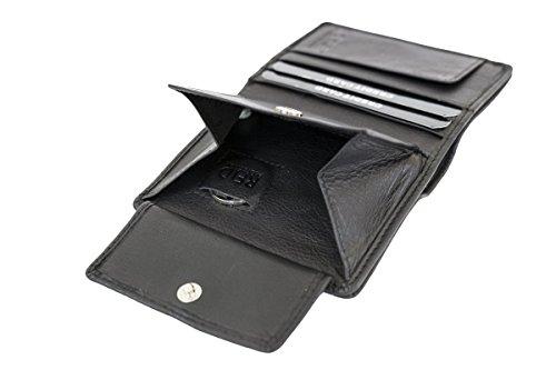 Minibörse extra flach im Hochformat dünn, flaches Portemonnaie mit RFID Schutz, Block Folie mit Geschenk Box LEAS in Echt-Leder, schwarz