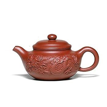 SILINE Zisha Teapot 8 Oz Yixing Clay Tea Pot with Filter,Handmade Dragon Relief Fanggu,Chinese Kung Fu Tea Maker Set