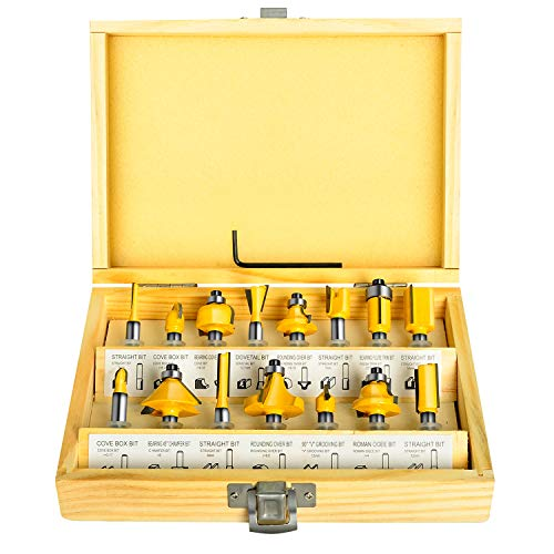 MEIGG Tool 15PCS Router Bits Set, 1/4-Inch Shank Round Nose Cutter Tools