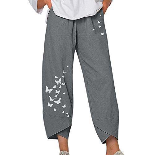 Shujin Damen Boho Haremshose 7/8 Sommerhose Große Größen Gänseblümchen Drucken Bequemer Schnitt Gummibund High Waist Yogahose Hose mit Weitem Bein
