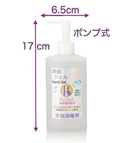 Re-Soft除菌ジェルリソフト手指消毒用200mlエタノール炭化チタン保湿成分配合ハンドジェル日本製消臭ウイルス菌200ml