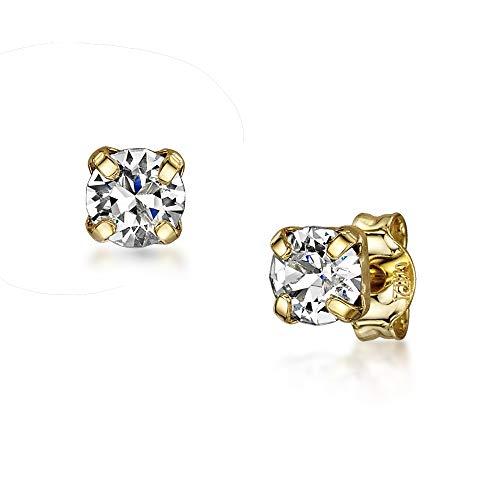 Amberta Joyas - Pendientes de botón en Plata de Primera Ley 925 con Auténticos Cristales de Swarovski para Mujer - Chapado en Oro - Cristal Xirius Chaton Sin Color - Hipoalergénicos