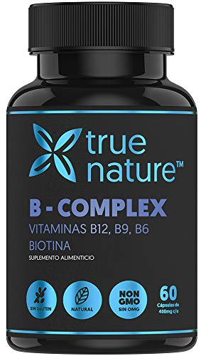 TRUE NATURE B COMPLEX | Vitaminas B6, B9, B12, Biotina - Ingredientes Esenciales para el Sistema Nervioso y Energía - (1 Frasco, 60 Días, Sin Gluten, Libres de OMG's y 100% Naturales)