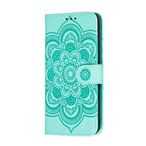 GOGME Hülle für Oppo Reno 4 Pro 5G (Oppo Reno4 Pro 5G), Ziemlich Retro Geprägt Mandala Muster Design PU Leder Brieftasche Flip Handyhülle, Oppo Reno 4 Pro 5G Stoßfest Schutzhülle, Grün