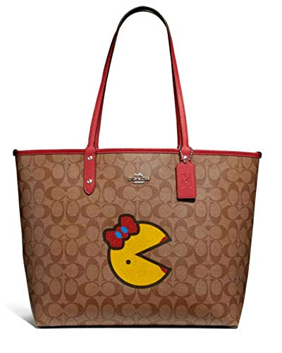 COACH Signature Miss Pacman Reversible City Tote Khaki/Multi/Washed Red One Size