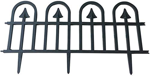 """Abba Patio Garden Fence Recycled Plastic Landscape Edging 6 Sections 24.4"""" x 12.5"""" Flexible No-Dig Ornamental Wrought Iron Style Decorative Border, Black"""