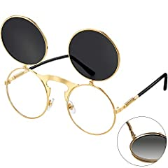 Lightweight material: the steampunk sunglasses for women is made of AC material, non-toxic and safe, the durable frame help you to use these sunglasses for a long time; Classic and vintage style can make you look cool Proper size: the spectacle lens ...