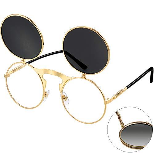 Klappbare Steampunk Sonnenbrille Schwarz Gotisch Rund Retro Hippie Brille für Herren Damen