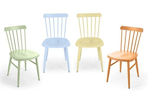 Domus Stile Giotto - Juego de 4 sillas de Acero, Color Verde, Naranja y Amarillo, 50 x 42,5 x 80 cm, 4 Unidades