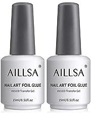 AILLSA Nail Foil Glue, 2*15ml Transfer Foil Glue Nail Foils Gel Nail Glue Nail Art för naglar