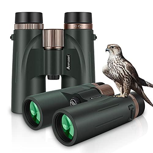 Anruzon Fernglas 12x42 HD Ferngläser wasserdicht für Vogelbeobachtung, Wandern, Jagd, Sightseeing, FMC-Linse Feldstecher inkl. Tragetasche, Tragegurt und Smartphone-Adapter