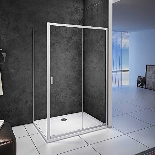 Mampara de ducha cuadrada esquina,frontal 2 hojas correderas + panel fijo lateral Cristal Templado 5mm, 1000X800X1850mm