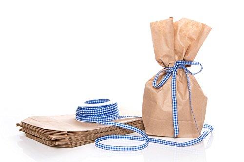 10 Marron Petit (14 x 5,6 x 22 cm) Sacs Papier avec petits sacs papier kraft avec fond bleu/blanc Vichy Ruban cadeau (20 m) ; pour petit cadeau, les cadeaux et Give de aways, cadeaux publicitaires