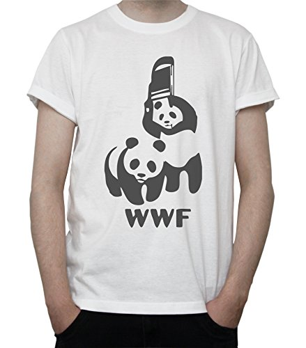WWF Logo Panda Wrestling Funny Graphic Mens T-Shirt Medium