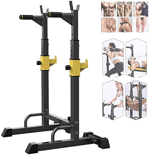 AMITD Fitness Verstellbare Hocke Rackbarbell Bar Rack Gewichtheben Bettrahmen Home Fitness Verdicktem Stahl Sicherheitsschutzstange