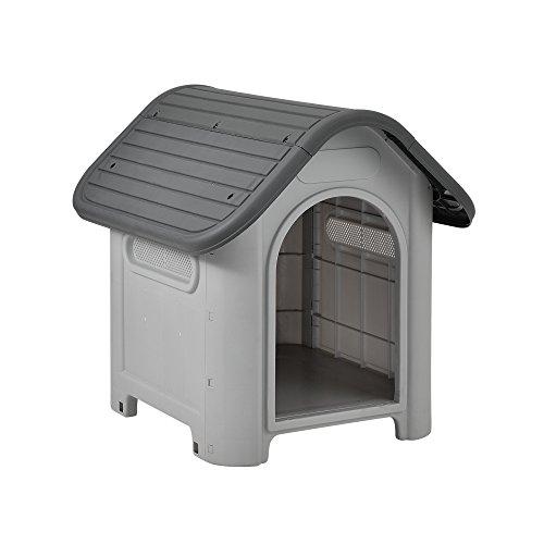[en.casa] Caseta para perros de plástico - gris / negro - PVC - 75 x 59 x 66 cm