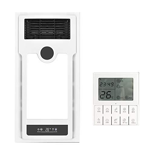 Bathroom Heater Xinjin Calentador de Techo Integrado de Tres Tonos de la lámpara Embedded Baño LED multifunción Remoto Extractor Calentador de Aire 3 Segundos Calentamiento rápido