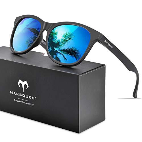 MARSQUEST 偏光サングラス ウェリントン型 軽量フレーム UV400紫外線・反射光・強光・グレアからカット 落下防止デザイン 抗衝撃 自転車・ドライブ・ランニング・釣り・登山・トレッキングのスポーツに ファッションなデザイン メンズ & レディース用(ブルー)