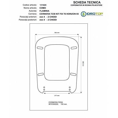 ACB/COLBAM Toiletbril van hout, gecoat met polyester voor Flaminia Como wit met losse ritssluiting Soft Close Cromo-Sedile-ASSE WC