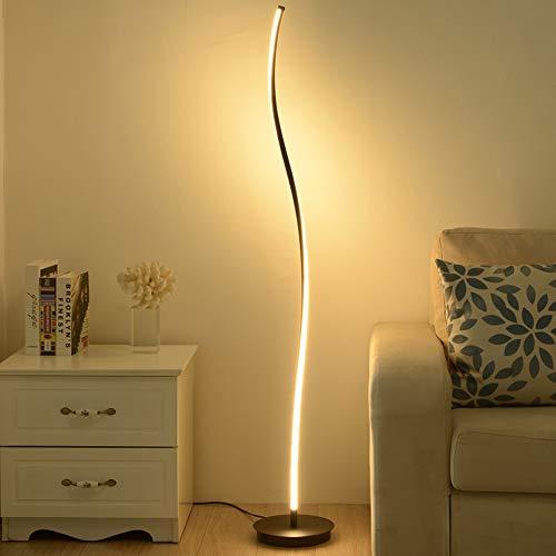 KKING Lámpara de pie LED para Sala de Estar Regulable para Sala de Estar Dormitorio, Blanco cálido/Blanco Neutro/Blanco frío para Dormitorio Sala de Estar Oficina,Negro