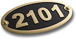 House Number Address Plaque Traditional Oval Style Medium. Cast Metal Personalised Yard Or Mailbox Sign with Oodles of Color, Number and Letter Options. Handmade in England by The Metal Foundry