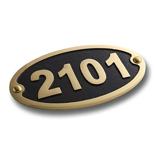 The Metal Foundry House Number Address Plaque Traditional Oval Style Medium. Cast Metal Personalised Yard Or Mailbox Sign with Oodles of Color, Number and Letter Options. Handmade in England