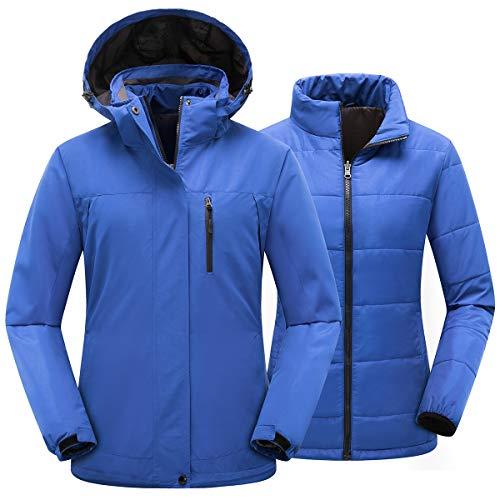 PTSOC Women's 3-in-1 Waterproof Ski Jacket Windproof Winter Outdoor Mountain Snow Coat Snowboarding Jackets Warm Raincoat with Detachable Hood Blue Medium