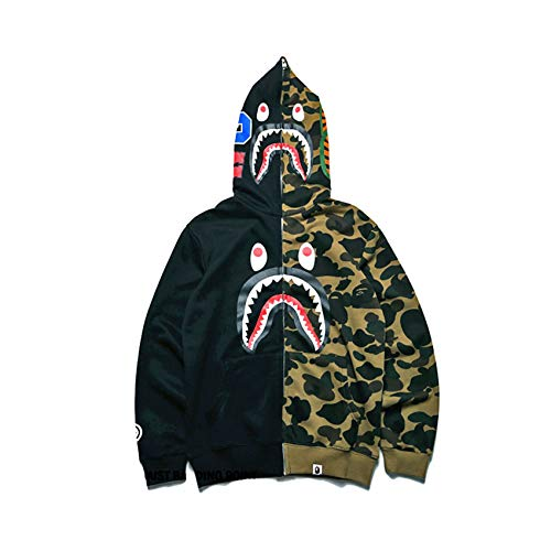 EWW Shark Ape Bape Camo - Felpa con cappuccio da uomo e donna, stile casual, con cerniera, hip-hop - - XX-Large