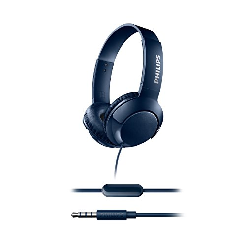 Philips Bass+ SHL3075BL - Auriculares con micrófono (Cable, Bajos potentes, Plegables, Ligeros y Elegantes) Azul