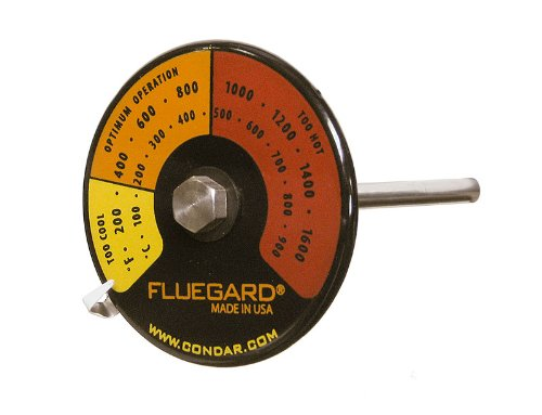Condar FlueGard Thermometer (3-39). Most Precise Readings for Double Wall Pipe. Durable Genuine Porcelain Enamel with Yellow, Orange and red Zones Clearly indicated on Black case