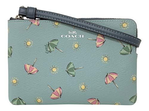 COACH Beach Umbrella Print Corner Zip Seafoam/Multi/Midnight One Size