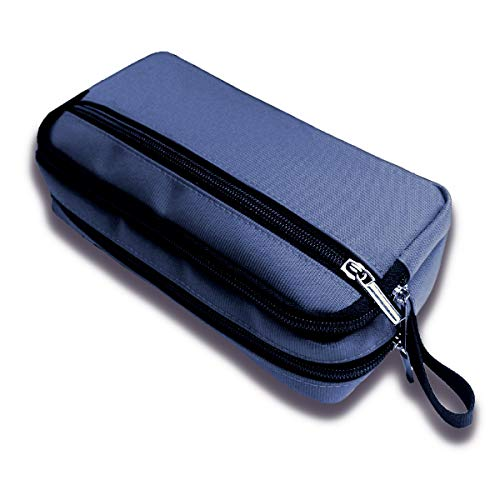 Shunshi Pencil Case Big Capacity 3 Compartments Holder Pen Marker Pouch Makeup Bag Oxford Cloth Stationery Organizer with Zippers for School Office (Dark Blue)