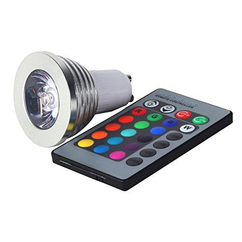 Fosmon Technology - Lampadina LED multicolore con telecomando, GU10 RGB 3 watts 220.00 volts