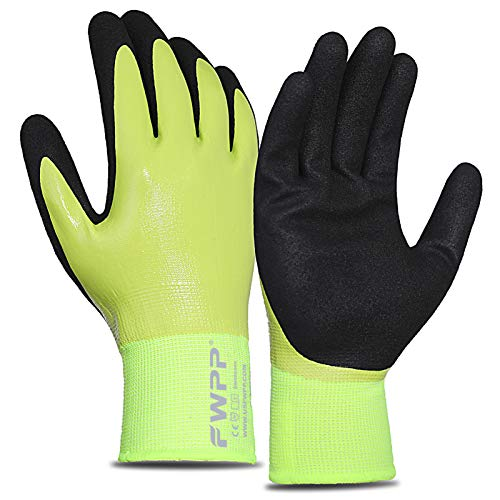 FWPP Safety Work Gloves, Double Nitrile Coated Firm Grip (2nd Generation More Wear-resistant) Construction Gloves,Waterproof and Oil resistant Gardening gloves, Large 6 Pairs, Yellow