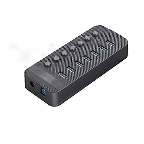 YWSZJ 7 Puertos Puertos USB 3.0 HUB BC1.2 Splitter con interruptores de Encendido/Apagado Individuales y Adaptador de alimentación de 12V / 2A para computadora PC
