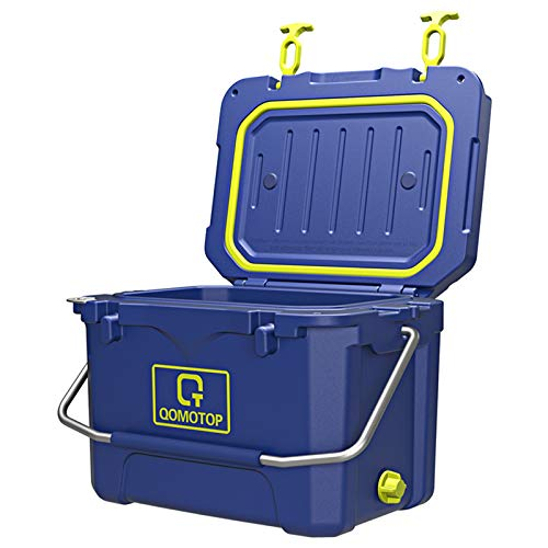 OT QOMOTOP Camping Cooler, 3-Day Ice Retention Cooler, 21-Quart/20L Rotomolded Cooler, 30-Can Capacity(Built-in Bottle Opener, Cup Holder,incl.) Perfect for Camping, Fishing, and Beach Leisure