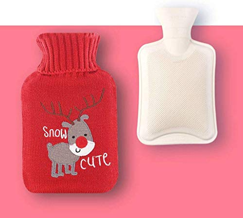 Rubber Hot Water Bottle, Classic Relax Hot Water tas met Knit Cover recyclebare for warme voeten, met de hand, rug, nek-A-750 ML Praktische kruik. (Color : H, Size : 750 ML)