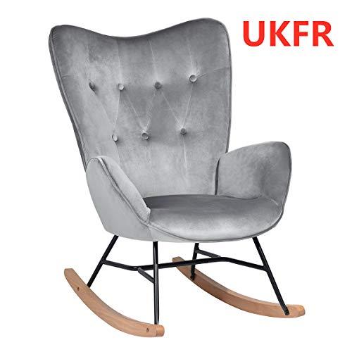 HOMYCASA Schaukelstuhl Schaukelstuhl Relaxsessel Relaxsessel Knopfleiste Leinen mit gepolsterter Sitzfläche dunkelgrau