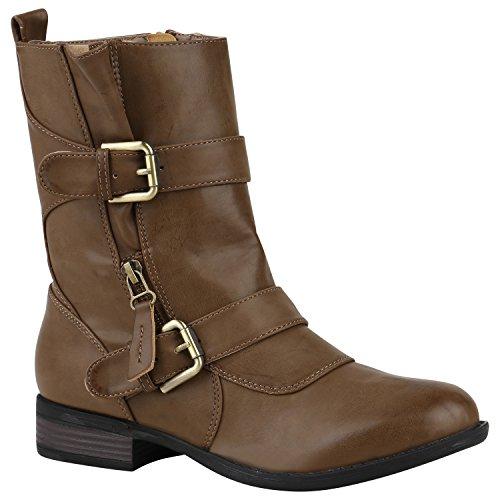 Stiefelparadies Damen Stiefeletten Biker Boots Leicht Gefütterte Booties Schnallen Schuhe 150206 Khaki Schnallen 37 Flandell
