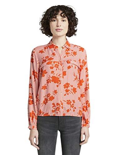 TOM TAILOR Damen Blusen, Shirts & Hemden Bluse mit Blumen-Print orange Coral floral Design,44