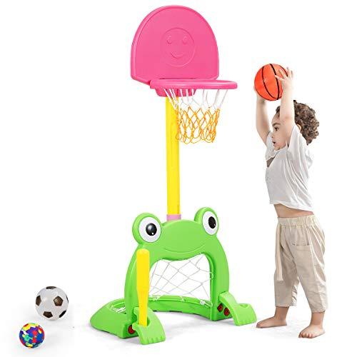 Costzon Kids Basketball Hoop Set, Kids 3-in-1 Sports Set for Basketball, Baseball & Football, 6 Height Adjustable Kids Basketball Toy for Indoor & Outdoor, Best Gift for Kids (Cute Frog)