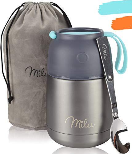 Milu® Thermobehälter Lunchbox 450, 650ml | Edelstahl Isolierbehälter Gefäß für warme Speißen, Essen, Babynahrung, Suppe, Obst | Behälter Box für Baby | Speisegefäß | Thermogefäß | (Grau/Blau, 450ml)