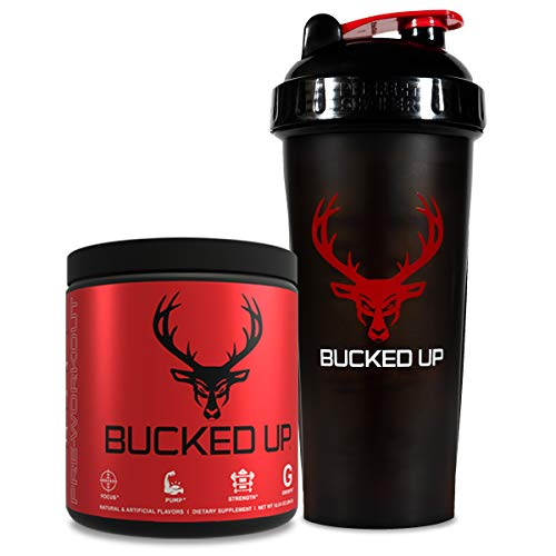 Bucked Up Pre Workout + Shaker Bottle | Bundle | Strawberry Kiwi + Black/Red Shaker