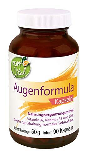 Kopp Vital Augenformula Kapseln | 50 g | 90 Kapseln | Mit Vitamin A, Vitamin B2 und Zink | Vegan | Nährstoffe für Ihre Augen