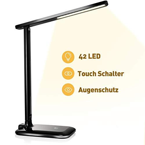 VicTsing Schreibtischlampe LED Dimmbare Tischlampe mit Touchfeld, 3 Farb- und 3 Helligkeitsstufen, Memory-Funktion für Lesen, Büro und Kinderzimmer, Schwarz [Energieklasse A]