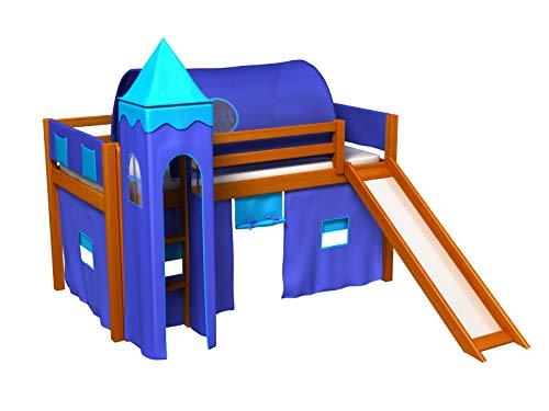 Bociek Meble Cama con tobogan,Torre,Tunel,2 x Bolsillos,Cortinas,colchón,Cama de Juego,Cama para niños,de Alta,Muchos Colores (ALISO-2041)