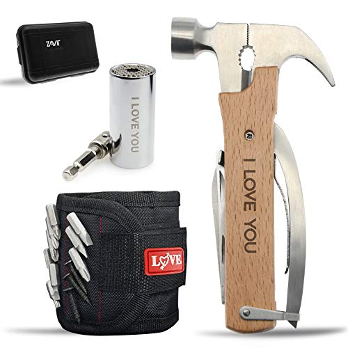 """Gifts for Husband Him Men,""""LOVE"""" Fathers Day Love Gifts,Anniversary Birthday Valentines Day Gifts,Stocking Stuffers, Gadgets for Men,All in One Multitool Hammer/Magnetic Wristband/Universal Socket"""