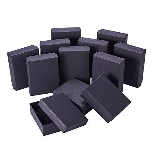 NBEADS 12 Karton Schmuck Set Box, Für Ring, Halskette, Rechteck, 9 × 7 × 3 cm Schwarz