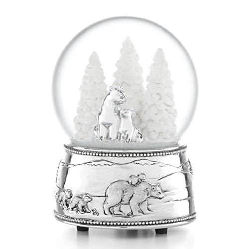 Reed & Barton Bear & Cubs Snowglobe North Pole Bound Polar Bear Musical Snow Globe, 2.25 LB, Multi