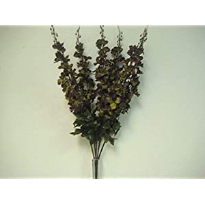 Green Purple Delphinium Bush 6 Stems Artificial Silk Flowers 28″ Bouquet